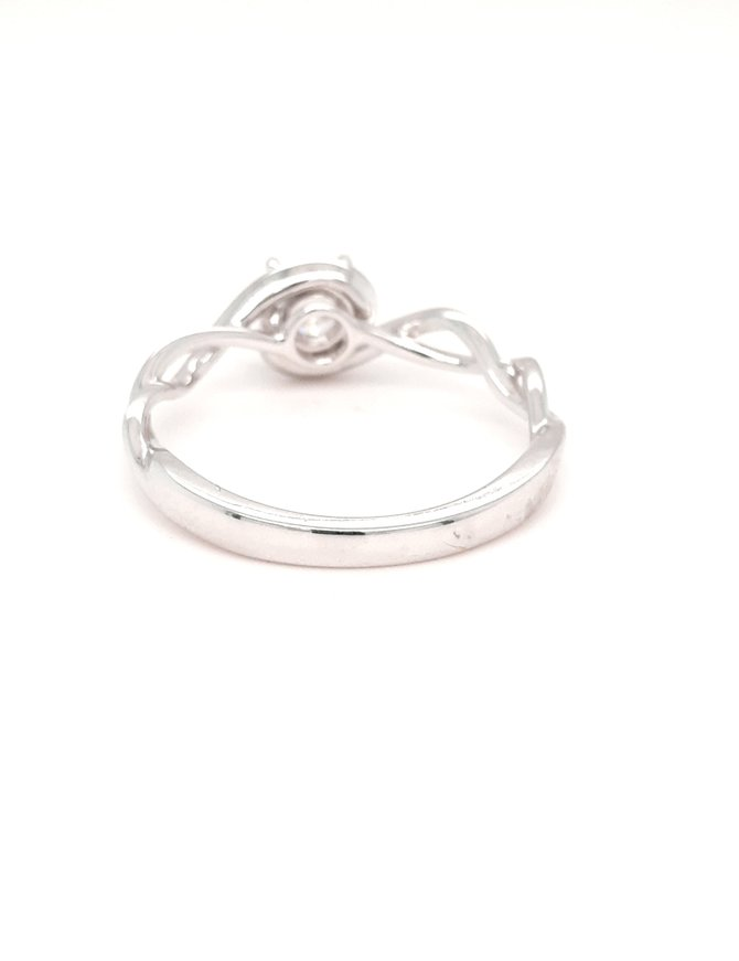 Diamond (0.50ct) solitaire ring with infinity band, 14k white gold
