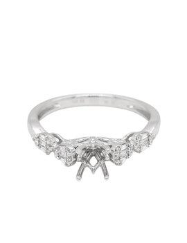 Diamond (0.19 ctw) baguette & round bridal setting, 14k white gold