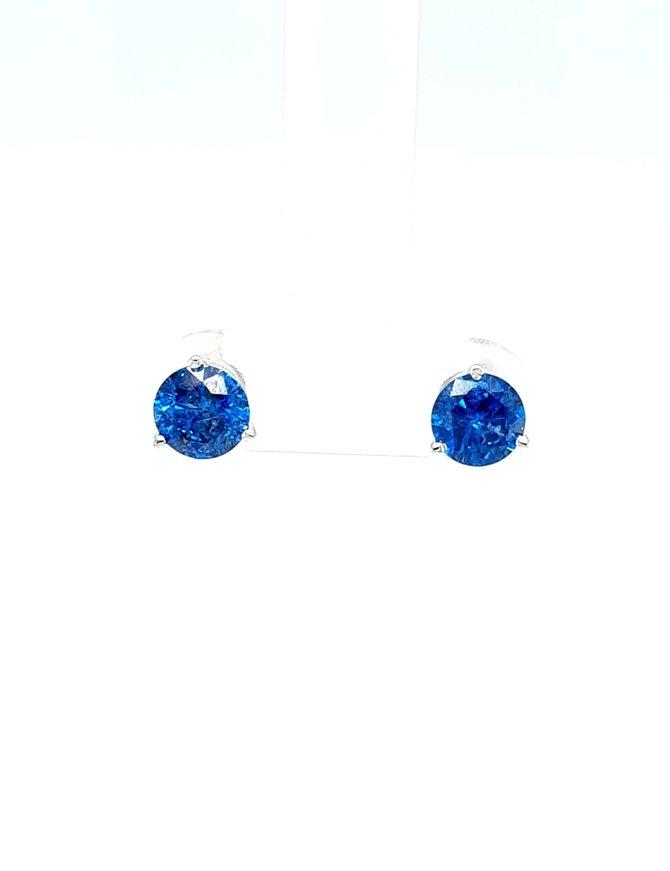 Blue diamond ( 1.40 ctw) stud earrings,  14k white gold