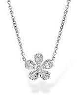 "Diamond (0.35 ctw) ""daisy"" pendant with fixed chain, 14k white gold"