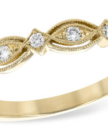Diamond (0.15ctw) fancy beaded edge band, 14k yellow gold