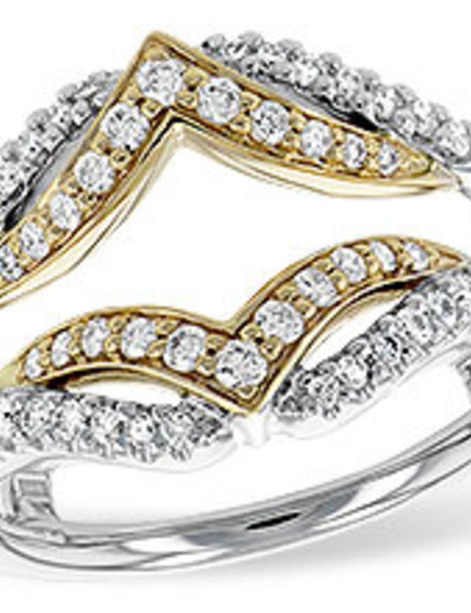 Diamond (0.50 ctw) fancy guard band, 14k white & yellow gold