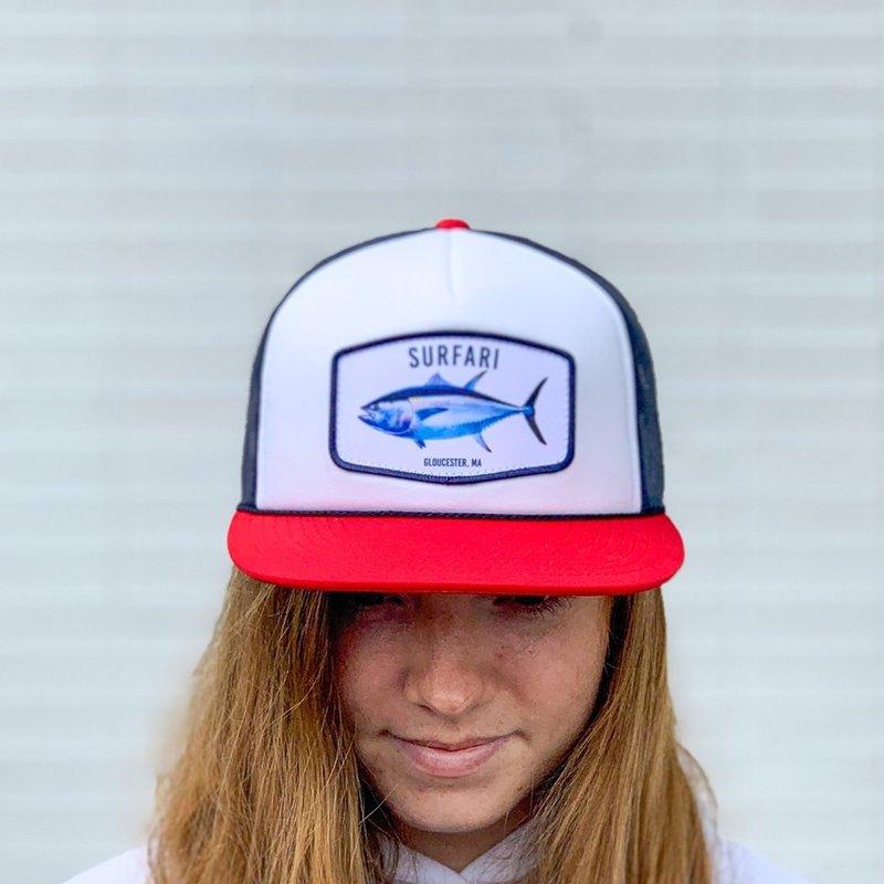 Surfari Surfari Gloucester Bluefin Flat Brim Trucker Hat White/Navy/Red
