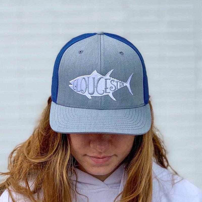 Surfari Surfari Gloucester Tuna Pre-Curved Trucker Hat Heather Grey/Slate Blue