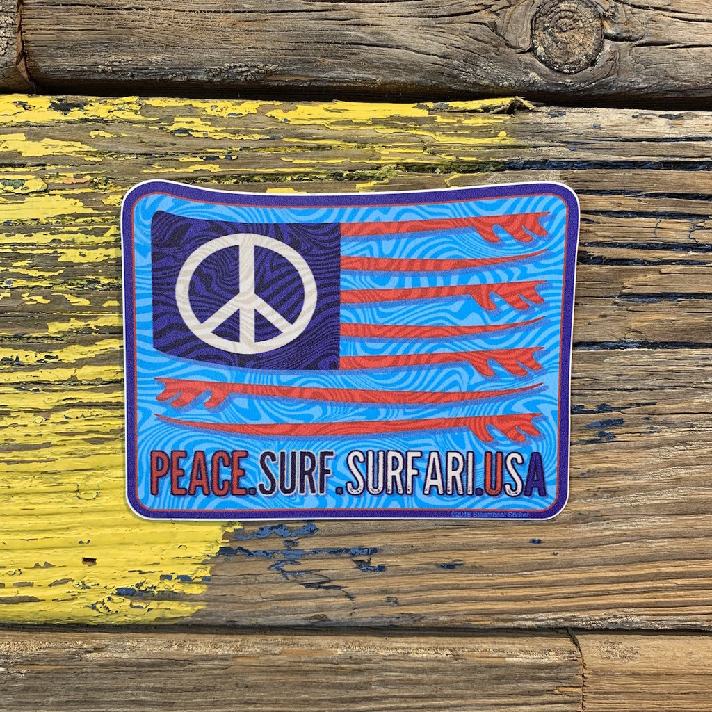 Surfari Peace Surf Surfari USA Sticker