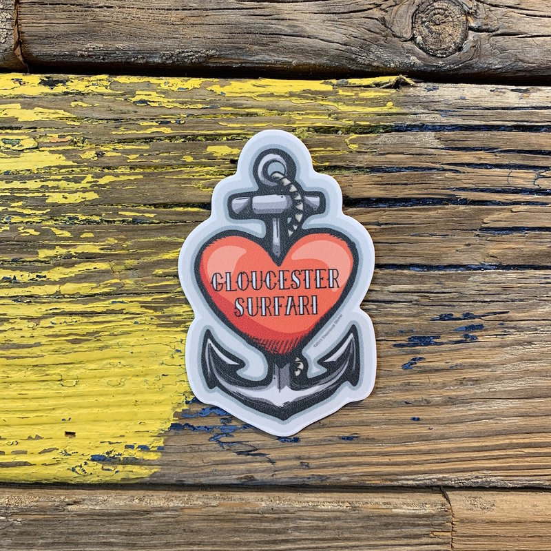 Surfari Heart Anchor Gloucester Surfari Sticker