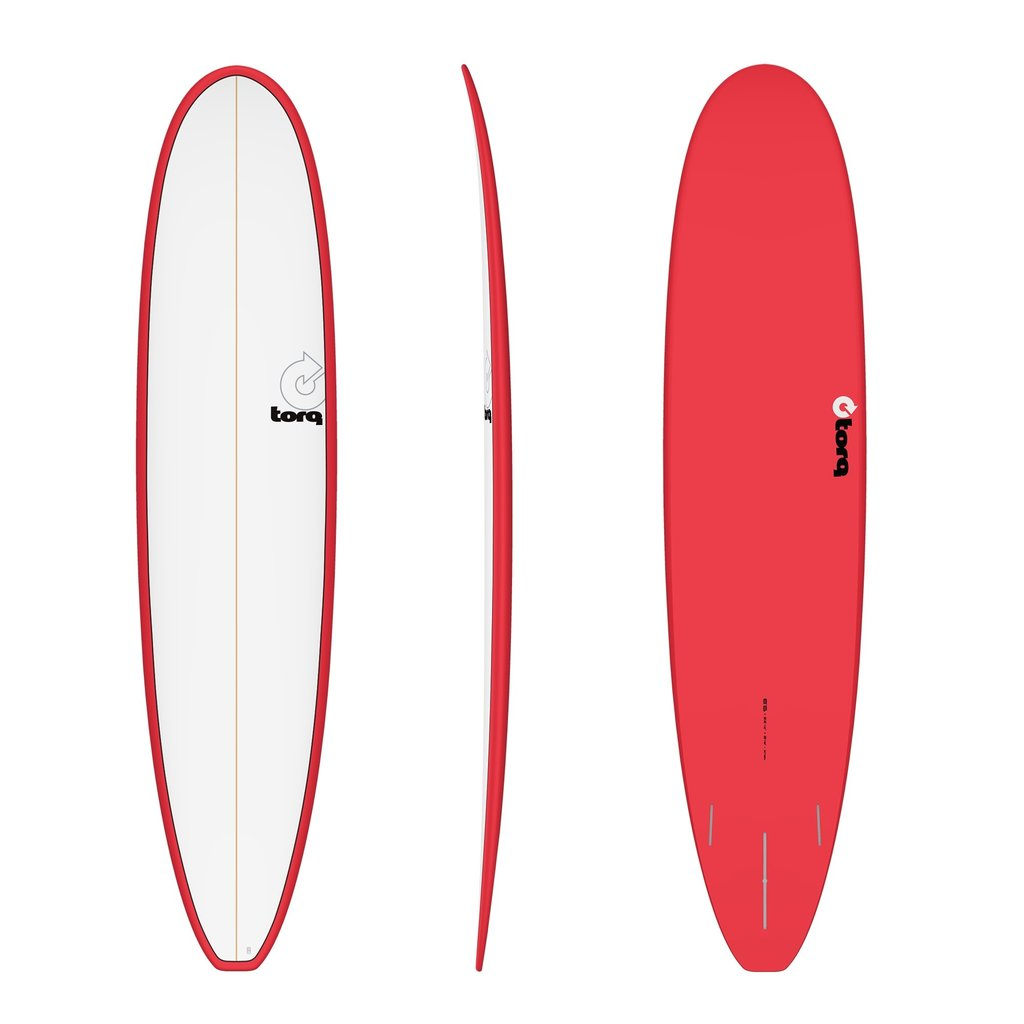 "Torq 8'6"" Torq Longboard Pinline Red White Deck"