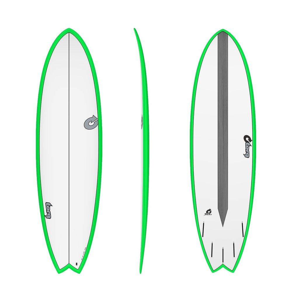 "Torq 6'6"" Torq Mod Fish Carbon Strip Green Rails White Deck"
