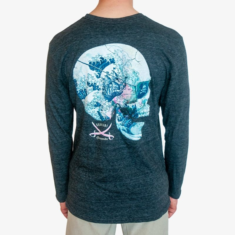 Surfari Surfari Kanagawa Skull Long Sleeve T-shirt