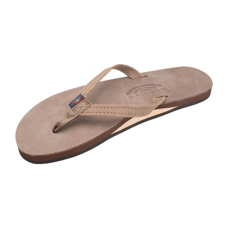 Rainbow Sandals Rainbow Sandals Women's Single Layer Premier Leather Narrow Strap Dark Brown