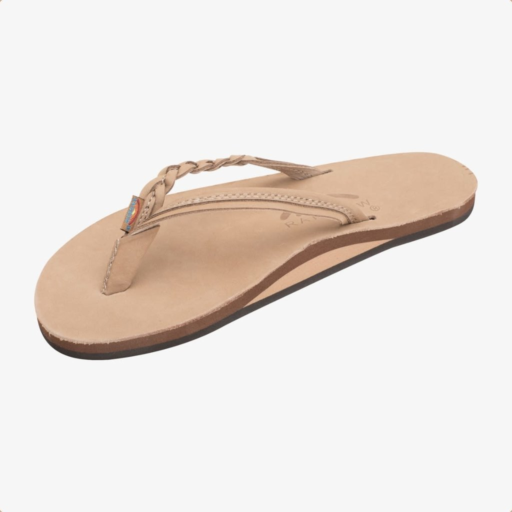Rainbow Sandals Rainbow Sandals Women's Flirty Braidy Single Layer Premier Leather Narrow Strap Sierra Brown
