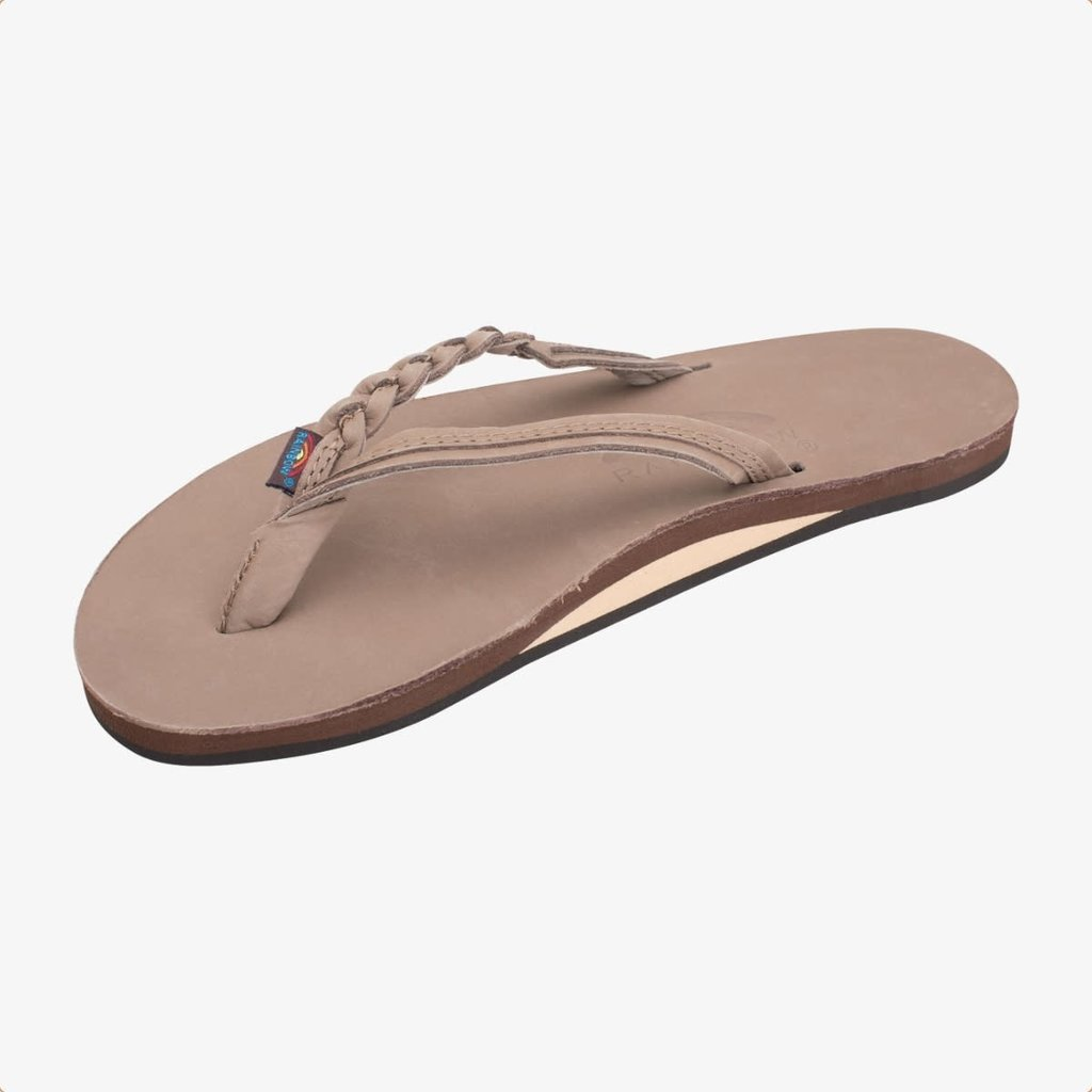 Rainbow Sandals Rainbow Sandals Women's Flirty Braidy Single Layer Premier Leather Narrow Strap Dark Brown