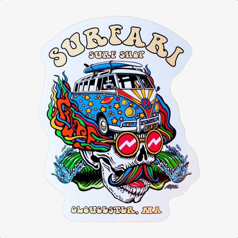 Surfari Surfari Love Bus Sticker