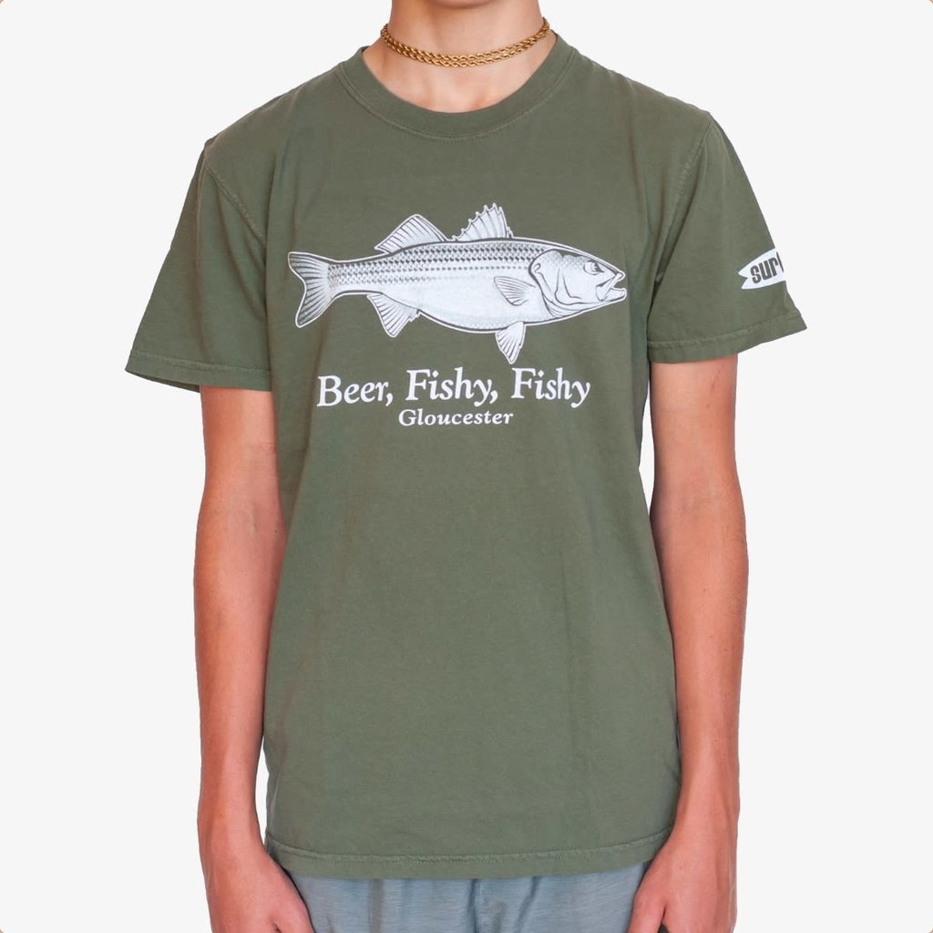 Surfari Surfari Beer Fishy Striper T-shirt Sage