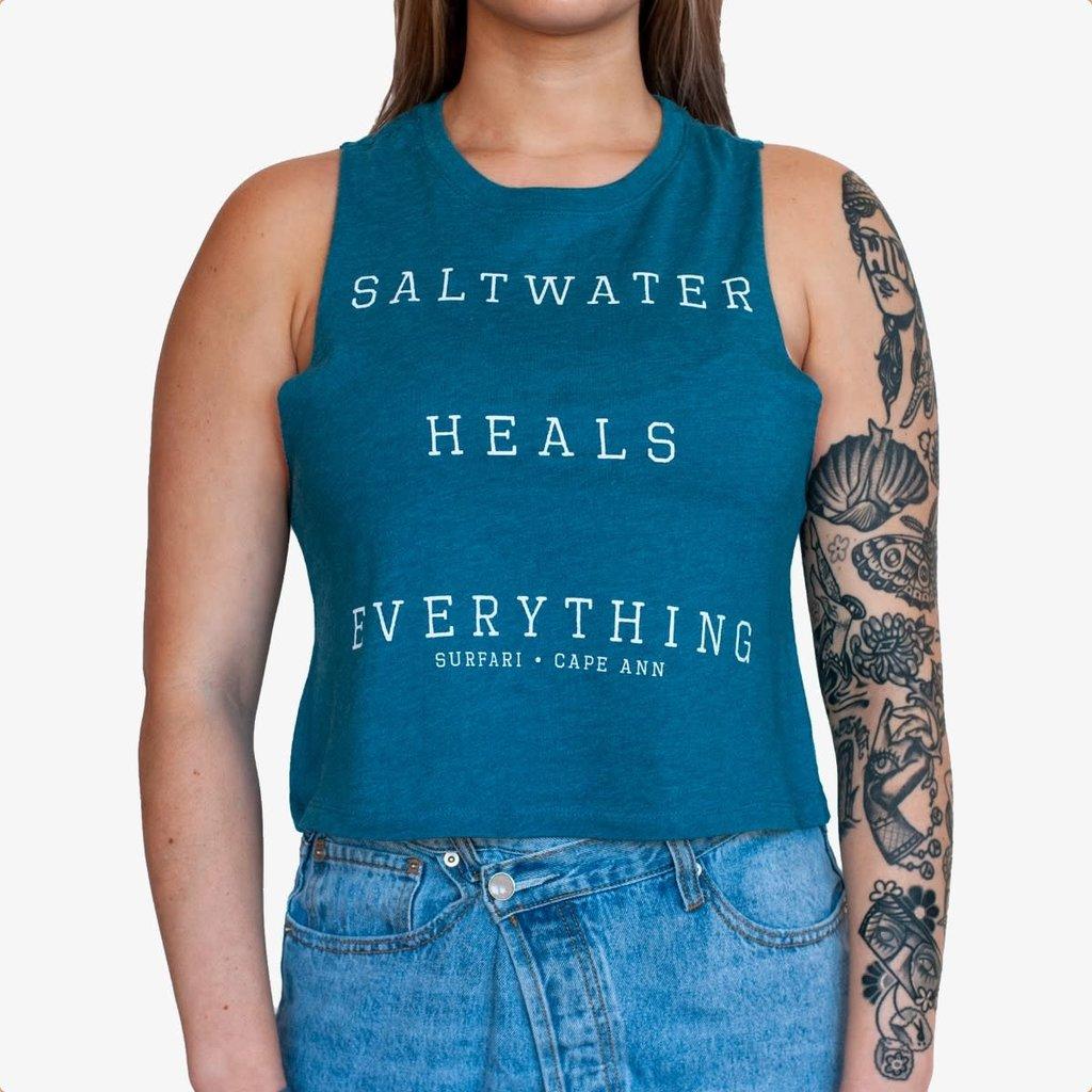 Surfari Surfari Saltwater Heals Women's Racerback Crop Tank