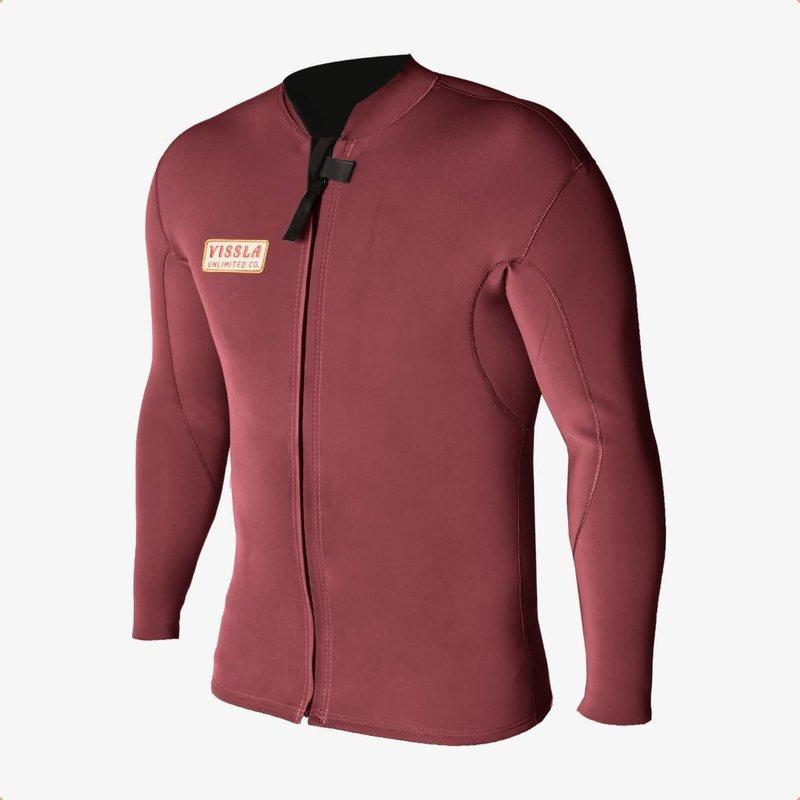 Vissla Vissla 2mm Solid Sets Front Zip Jacket Burgundy