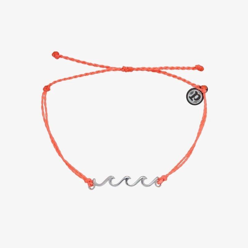 PuraVida Pura Vida Silver Delicate Wave Bracelet Strawberry