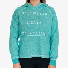 Surfari Surfari Saltwater Heals Women's Terry  Pullover Teal