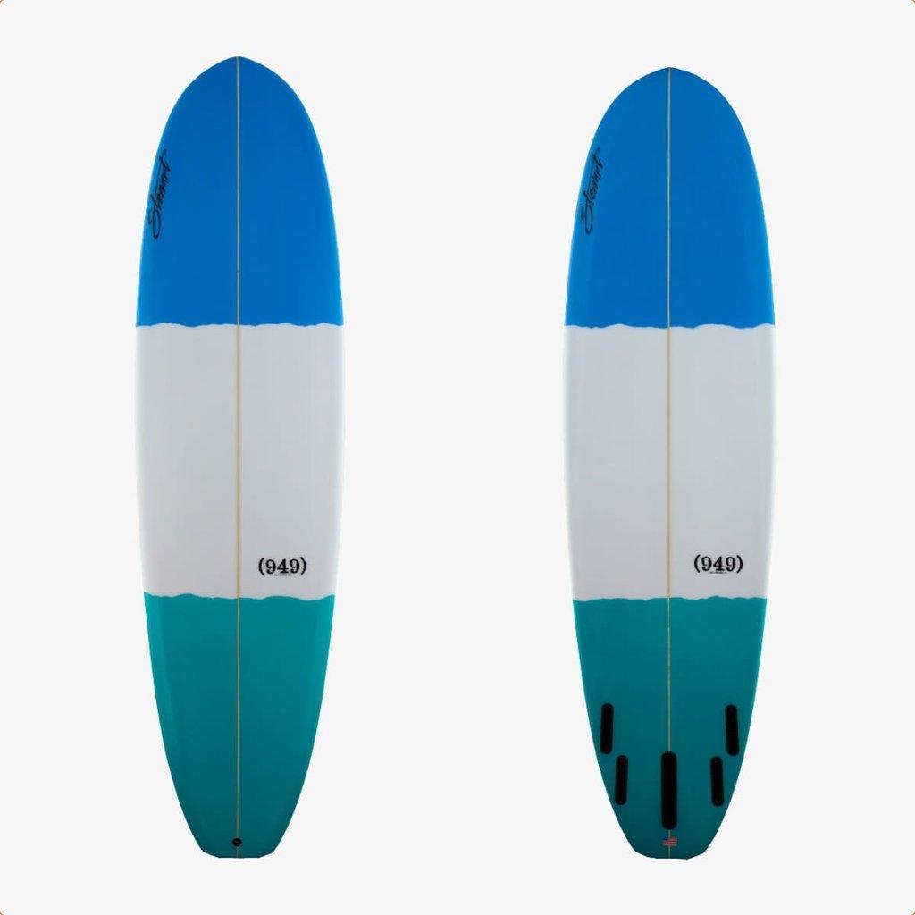 """Stewart Surfboards 7'6"""" Stewart 949 Teal/White/Blue Bands"""