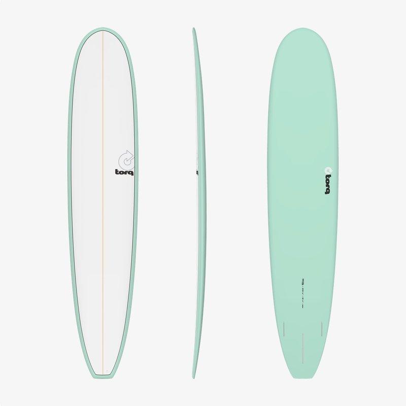 "Torq 9'6"" Torq Longboard Pinline Seagreen + White Deck"