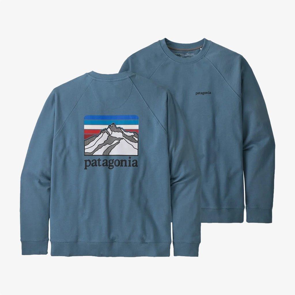 Patagonia Patagonia Men's Line Logo Ridge Organic Cotton Crew Sweatshirt Pigeon Blue