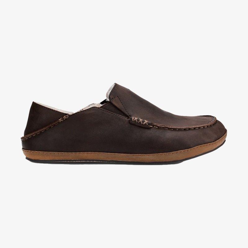 OluKai OluKai Moloa Leather Slip On Shoe Dark Wood/Dark Java