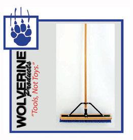 """Wolverine 24"""" Broom, Blue Poly Bristle, 60"""" Wood Handle W24BBP"""