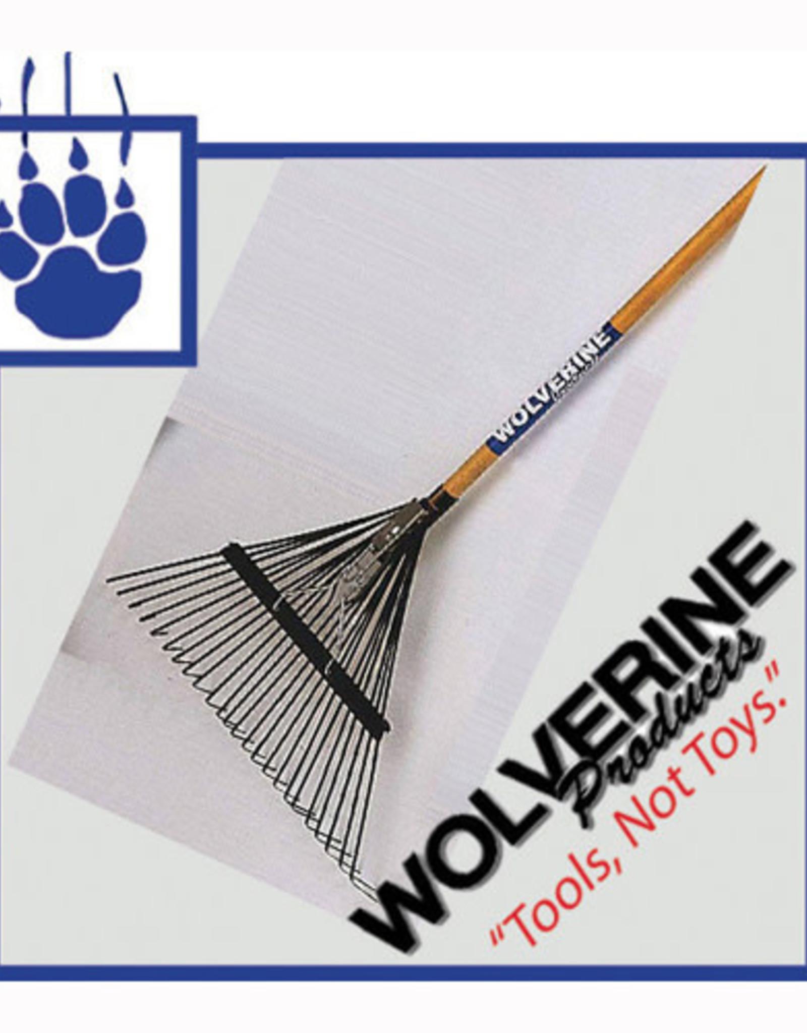 """Wolverine 24"""" Spring Steel Leaf Rake 54"""" Wood Handle W24SLR"""