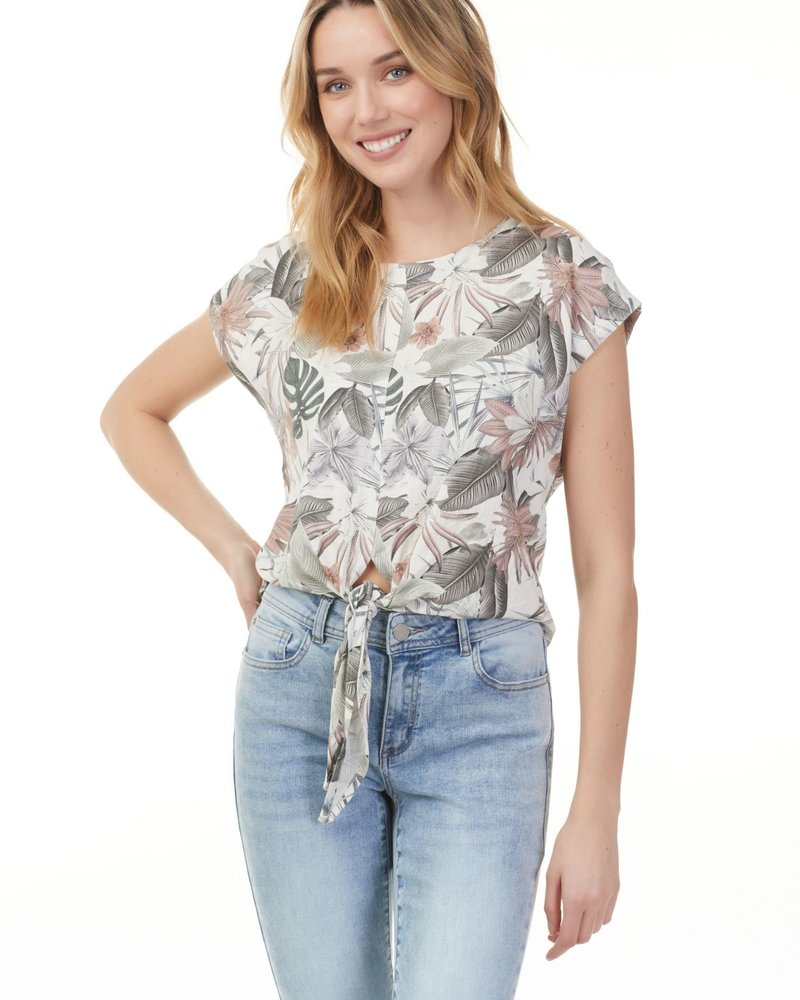 Charlie B Charlie B Linen Tie Front Top