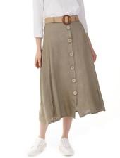 Charlie B Charlie B Linen Blend Skirt with Belt