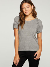 Chaser Chaser Rib Puff Sleeve Cropped Tee