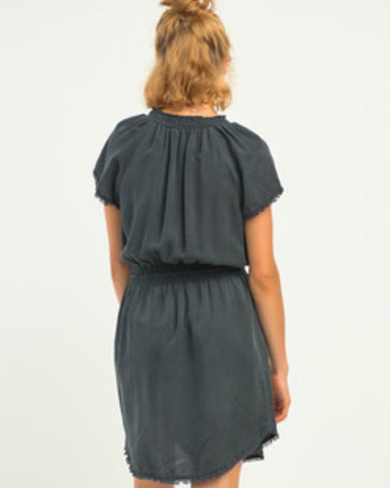 Dex Dex Frayed Hem Elastic Waist Dress