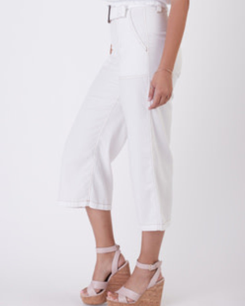 Black Tape Black Tape Cropped Belted Twill Pants