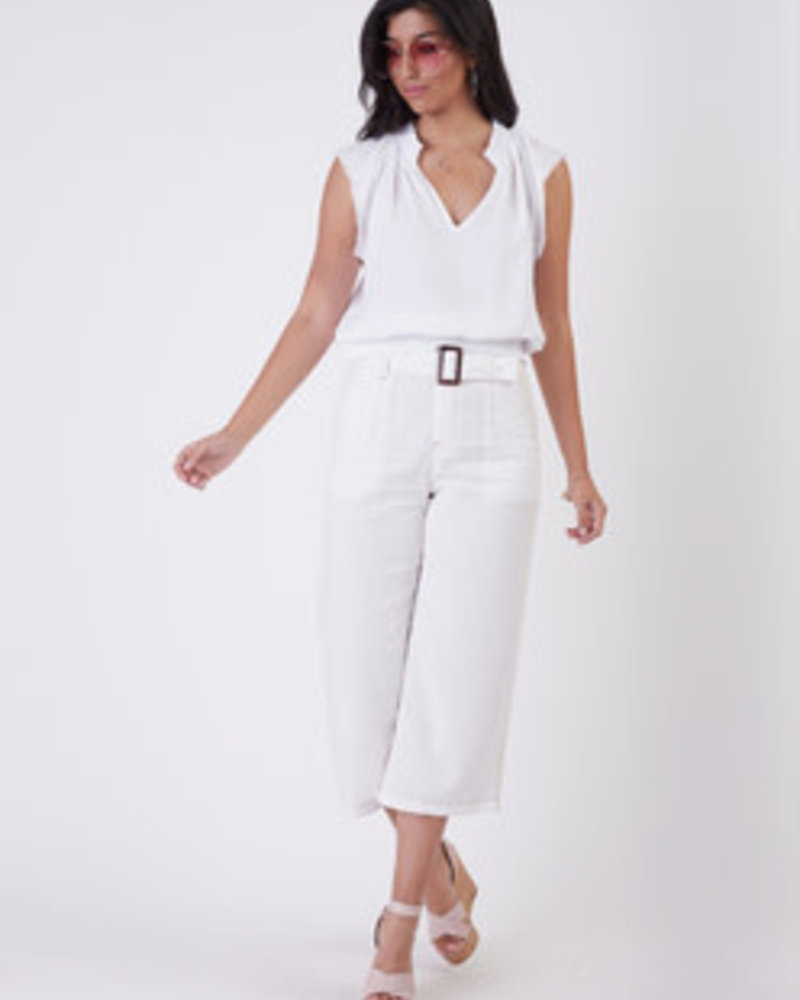 Black Tape Cropped Belted Twill Pants