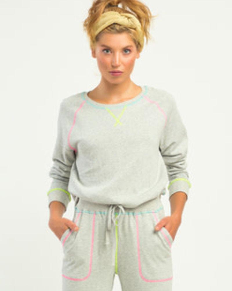 Dex Dex Contrast Neon Stitch Pullover