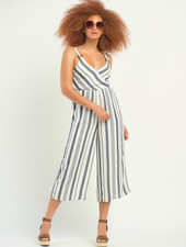 Dex Dex Striped Wrap Jumpsuit