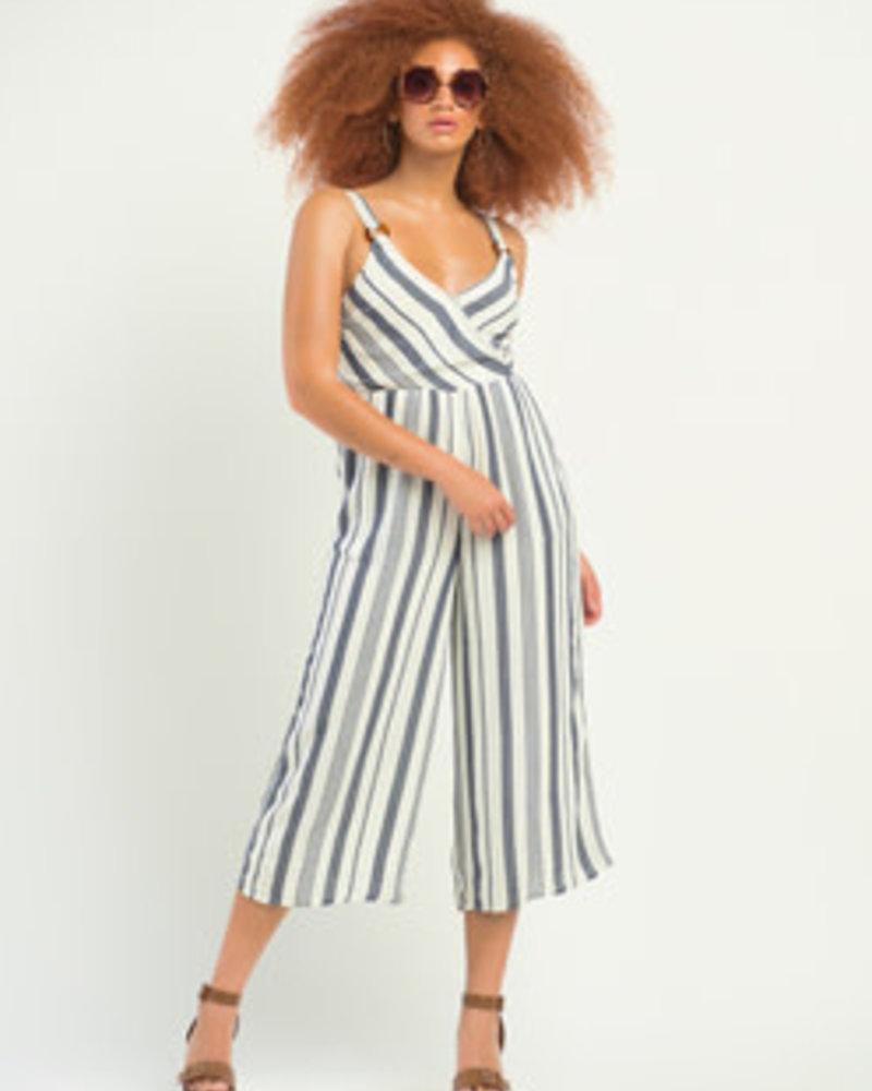 Dex Dex Striped Wrap Jumpsuit