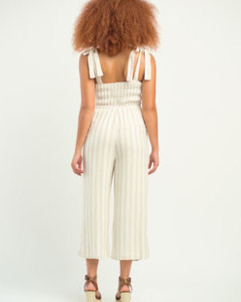 Dex Dex Smocked Striped Jumpsuit