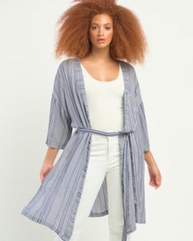 Dex Dex  Stripe Belted Kimono