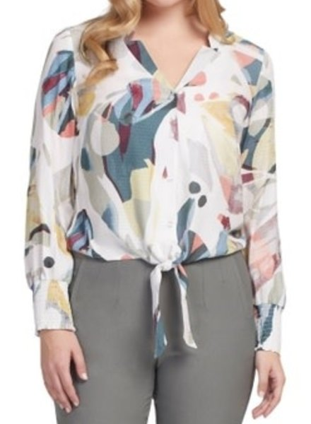 Tribal Tribal Tie Front Blouse