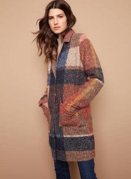 Charlie B Plaid Boucle Coat