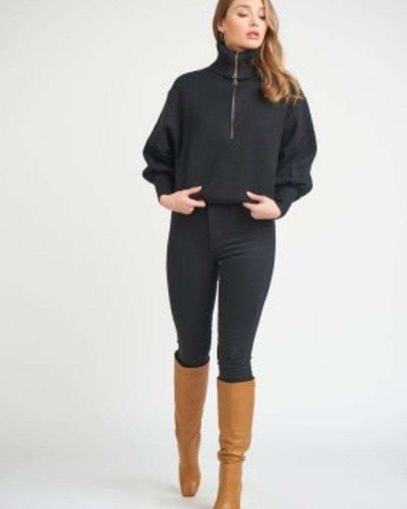 Dex Dex Front Zip Turtle Neck Sweater