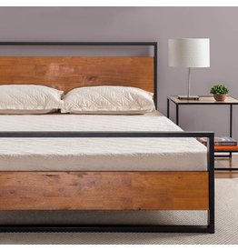 Zinus Zinus Suzanne Metal and Wood Platform Bed with Headboard / Box Spring Optional / Wood Slat Support, Queen