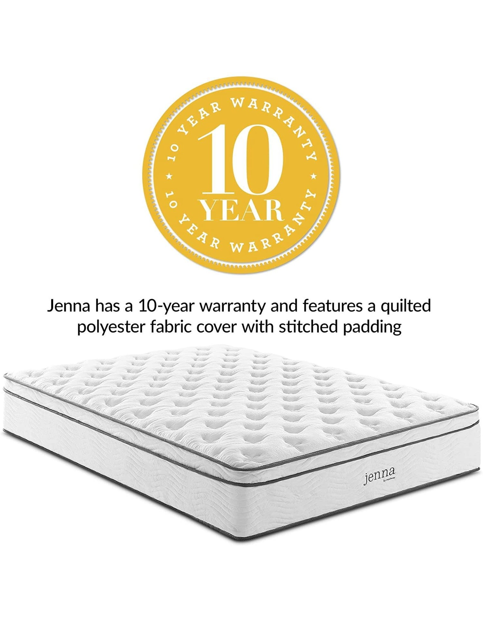 Modway Modway Jenna 14 Quilted Pillow Top King Innerspring Mattress - Individually Encased Pocket Coils