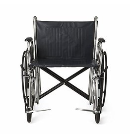 """Medline Medline MDS806900 Excel Extra-Wide Bariatric Wheelchair, 24"""" Wide Seat, Desk-Length Removable Arms, Swing Away Footrests, Chrome Frame"""