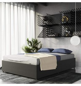 DHP DHP Maven Platform Bed with Upholstered Linen and Wooden Slat Support and Under Bed Storage, Grey; Queen