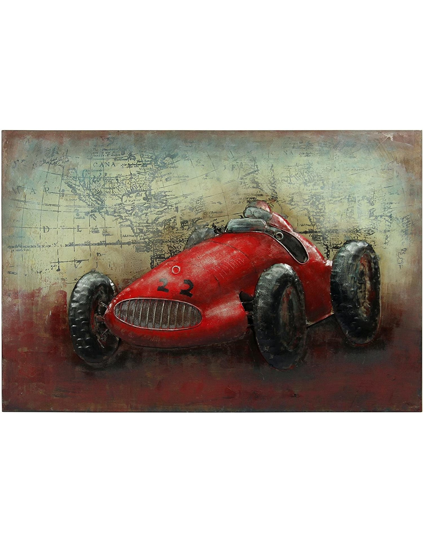 """Empire Art Direct Empire Art Direct Le Mans Mixed Media Iron Hand Painted Dimensional Wall Art Ready to Hang, 32"""" x 48"""" x 3"""""""