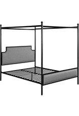 Christopher Knight Christopher Knight Home Asa Queen Size Iron Canopy Bed Frame with Upholstered Studded Headboard, Gray and Flat Black