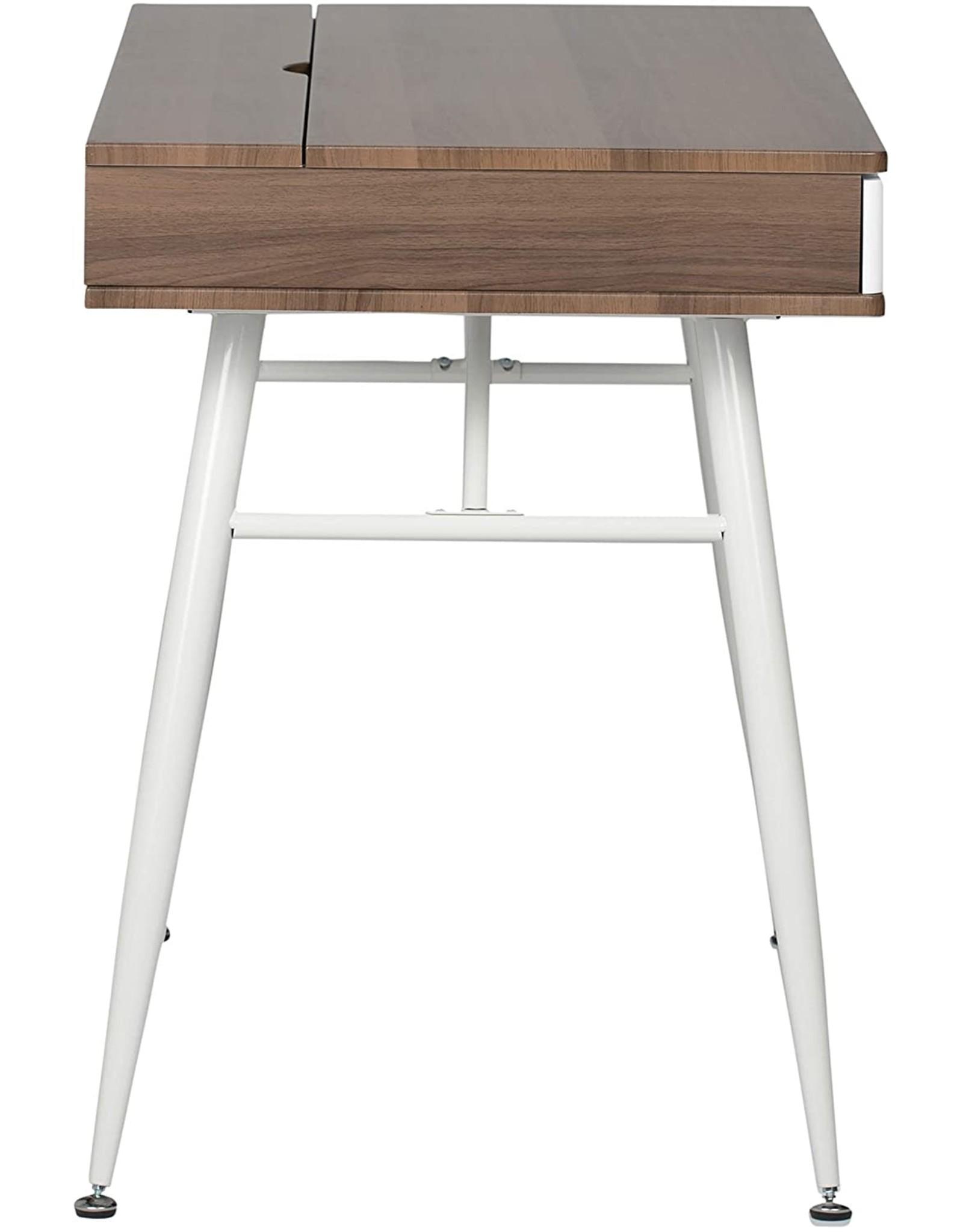 Calico Designs Calico Designs Alcove Modern Desk with Large Split Drawer Storage, White/Chestnut