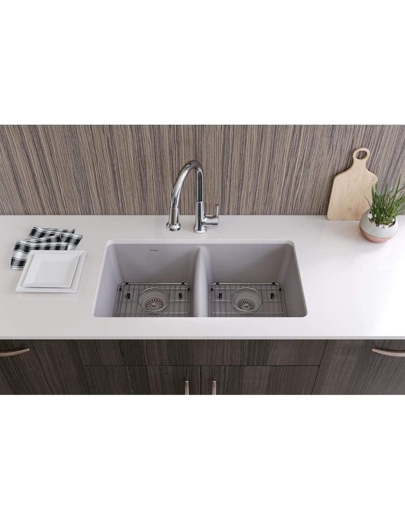 "Elkay Elkay Quartz Classic ELGU3322GS0FC 33"" x 18-1/2"" x 9-1/2"", Equal Double Bowl Undermount Sink Kit with Faucet, Greystone"